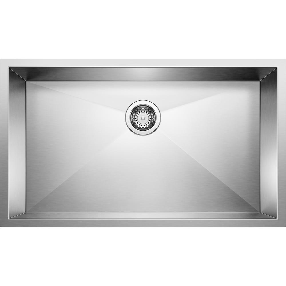 Blanco PRECISION R0 Undermount Stainless Steel 32 in. Single Bowl Kitchen  Sink