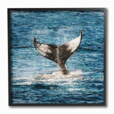 "12 in. x 12 in. ""Whale Tail Ocean Splash Planked Look"" by Sheldon Lewis Framed Wall Art"