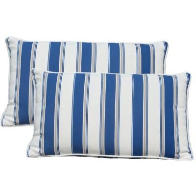 Canvas Blue Stripe Square Outdoor Throw Pillow (Set of 2)