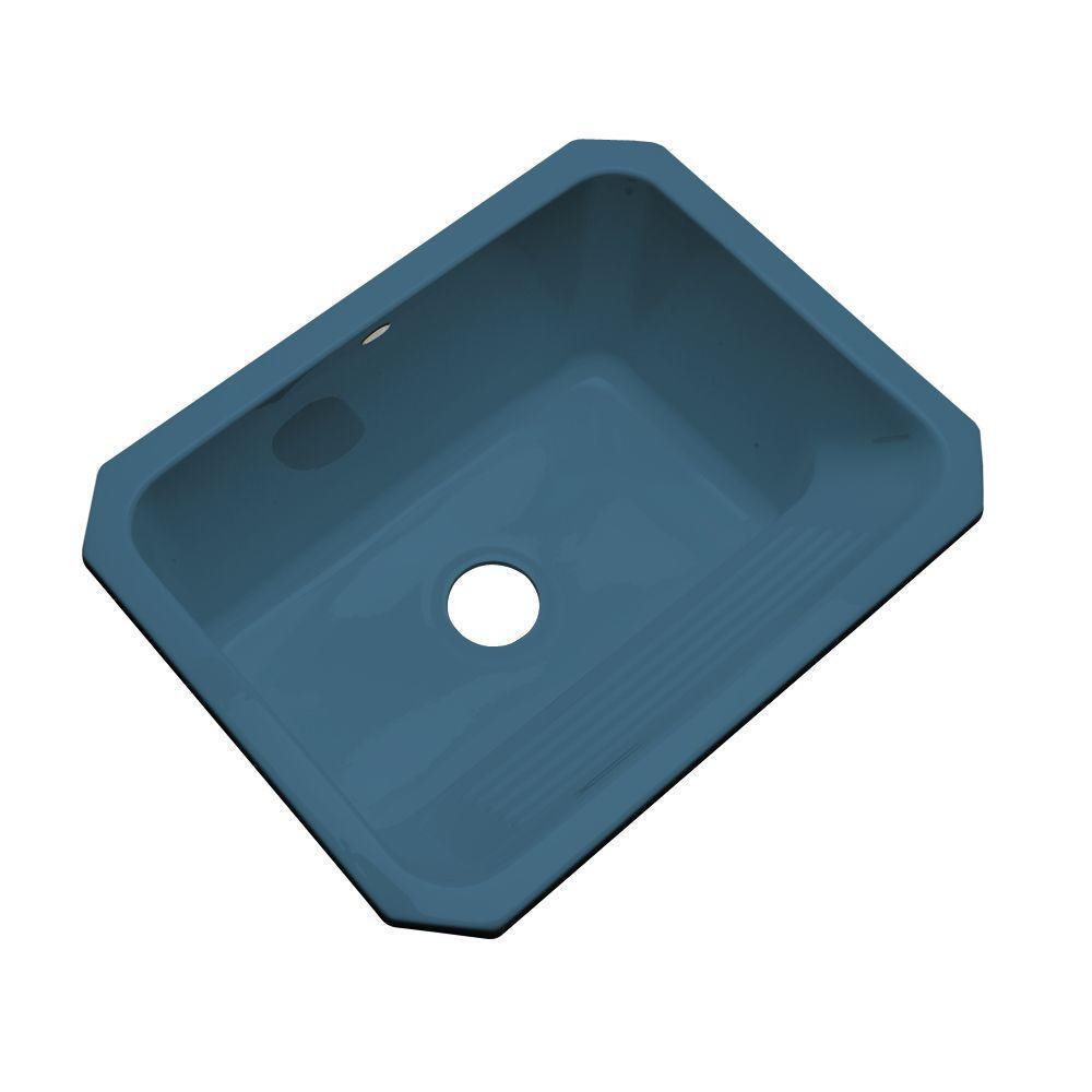 Thermocast Kensington Undermount Acrylic 25 in. Single Bowl Utility Sink in Rhapsody Blue