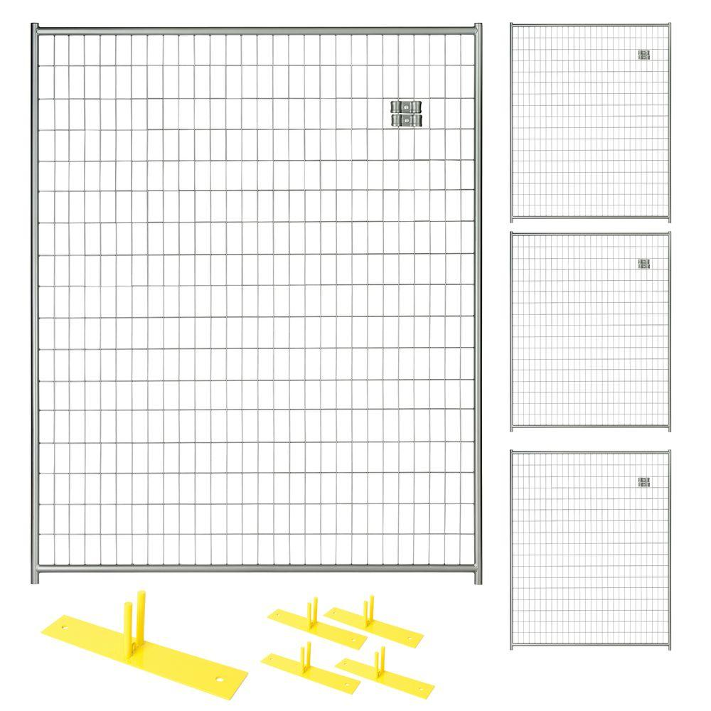 Perimeter Patrol 6 ft. x 20 ft. 4-Panel Silver Powder-Coated Steel ...