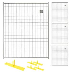 Perimeter Patrol 6 ft. x 20 ft. 4-Panel Silver Powder-Coated Steel Welded Wire Temporary Fencing by Perimeter Patrol