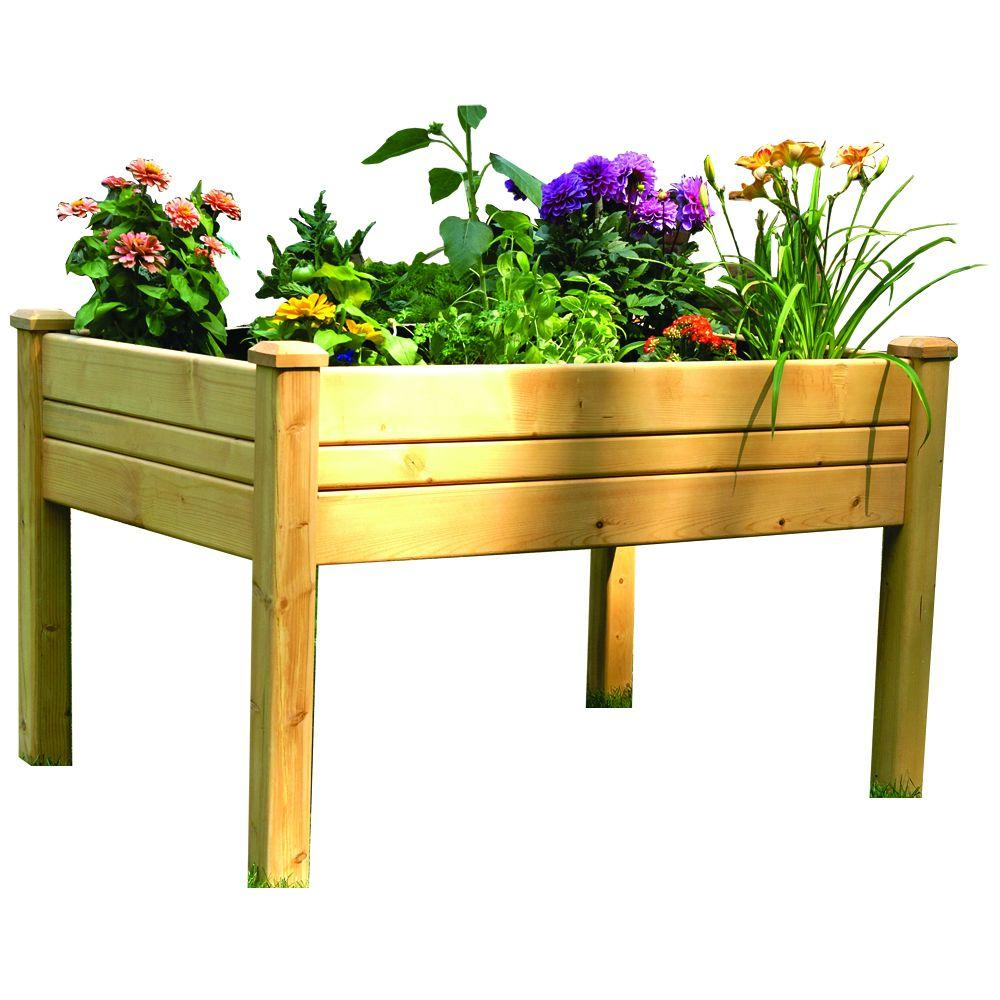 Eden 3 ft. x 4 ft. Cedar Raised Garden Table, Natural