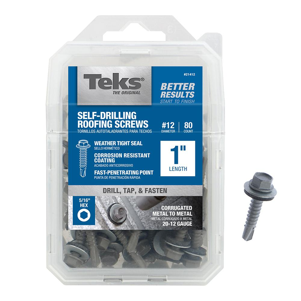 Teks #12 x 1 in. Hex Washer Head Drill Point Roofing Screw (80-Pack)