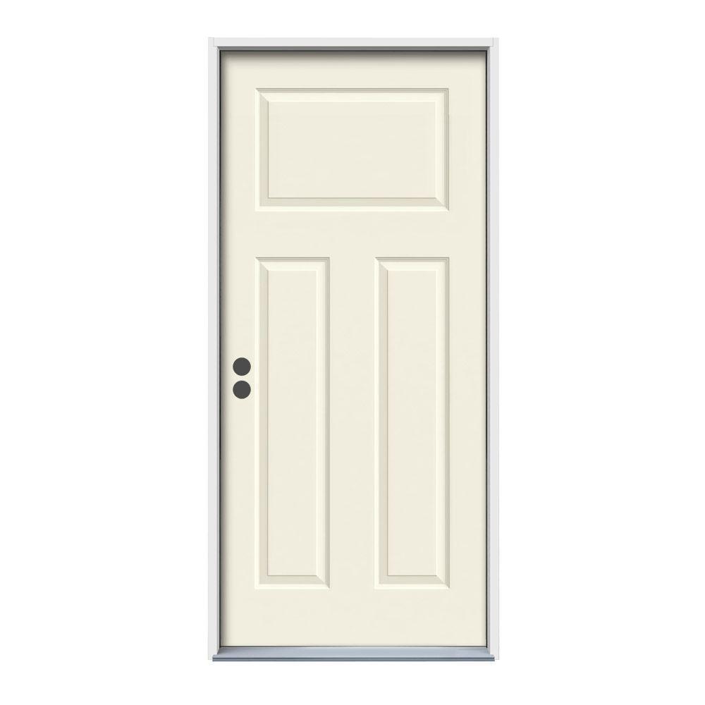 36 in. x 80 in. 3-Panel Craftsman Vanilla Painted Right-Hand Inswing Steel Prehung Front Door w/Brickmould
