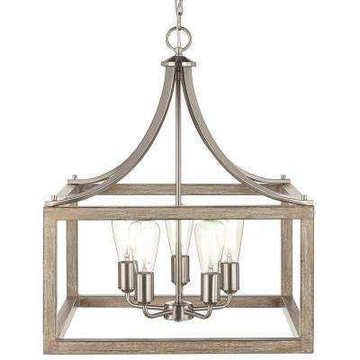 Boswell Quarter Collection 5-Light Brushed Nickel Pendant with Painted Weathered Gray Wood Accents
