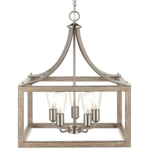 Boswell Quarter 20 in. 5-Light Brushed Nickel Dining Room Chandelier with Painted Weathered Gray Wood Accents