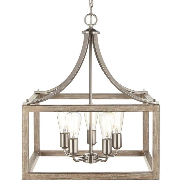 Boswell Quarter 20 in. 5-Light Brushed Nickel Chandelier with Painted Weathered Gray Wood Accents