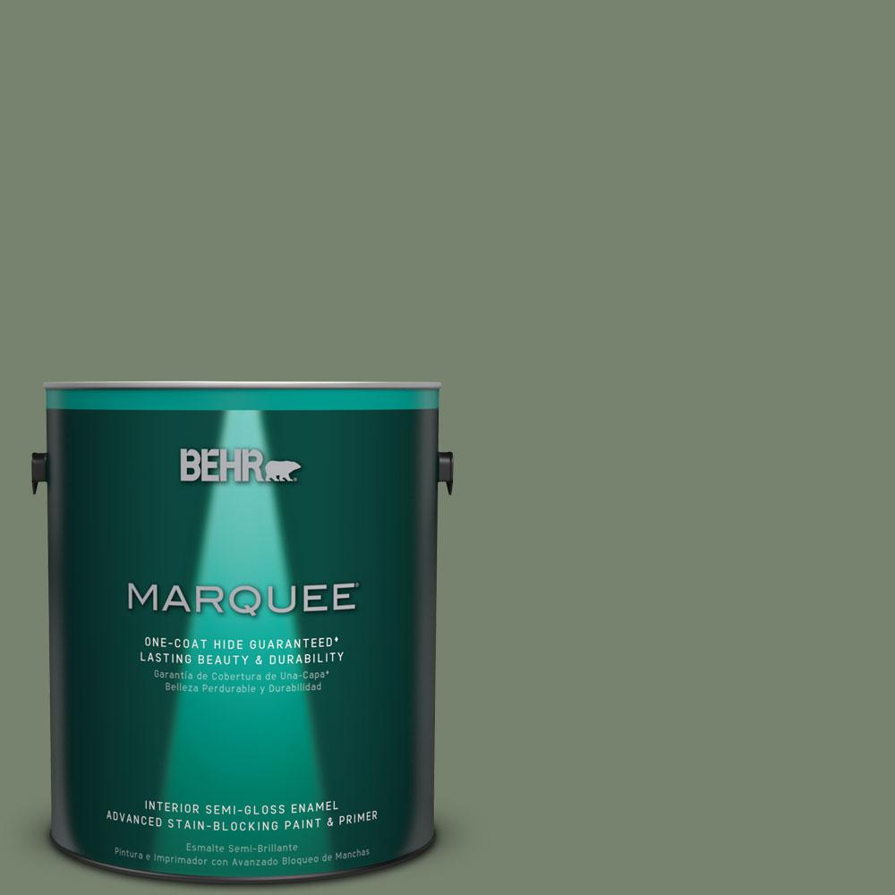 BEHR MARQUEE 1 gal. #MQ6-16 Gazebo Green One-Coat Hide Semi-Gloss Enamel Interior Paint
