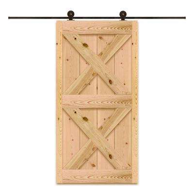 36 in. x 81 in. Top Mount Style Ponderosa Pine Unfinished Barn Door with Sliding Door Hardware Kit