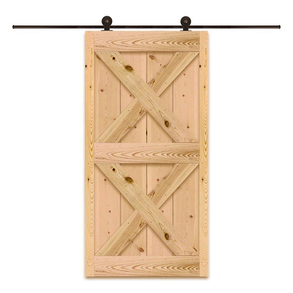 40 in. x 81 in. Top Mount Style Ponderosa Pine Unfinished Barn Door with Sliding Door Hardware Kit