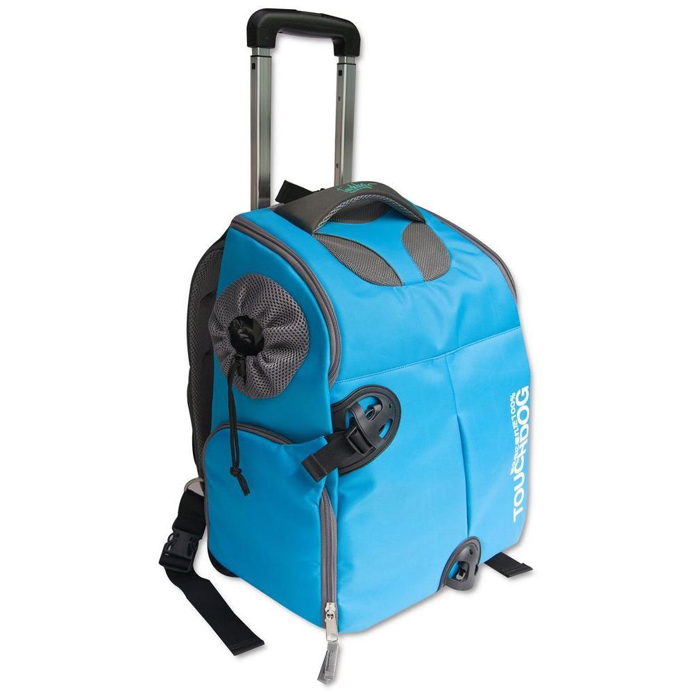 Blue Wuffle Duffle Wheeled Backpack Pet Carrier