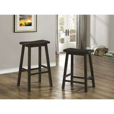 Saddle Seat 24 in. Cappuccino Bar Stool (Set of 2)
