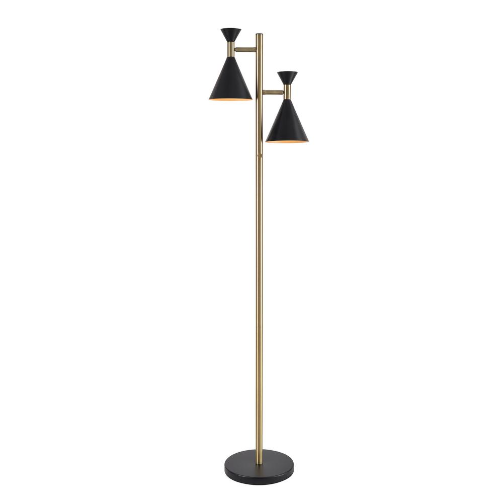 Kenroy Home Arne 61 in. Black and Antique Brass 2-Light Tree Lamp