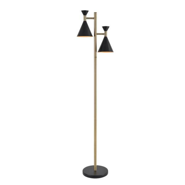 Arne 61 in. Black and Antique Brass 2-Light Tree Lamp