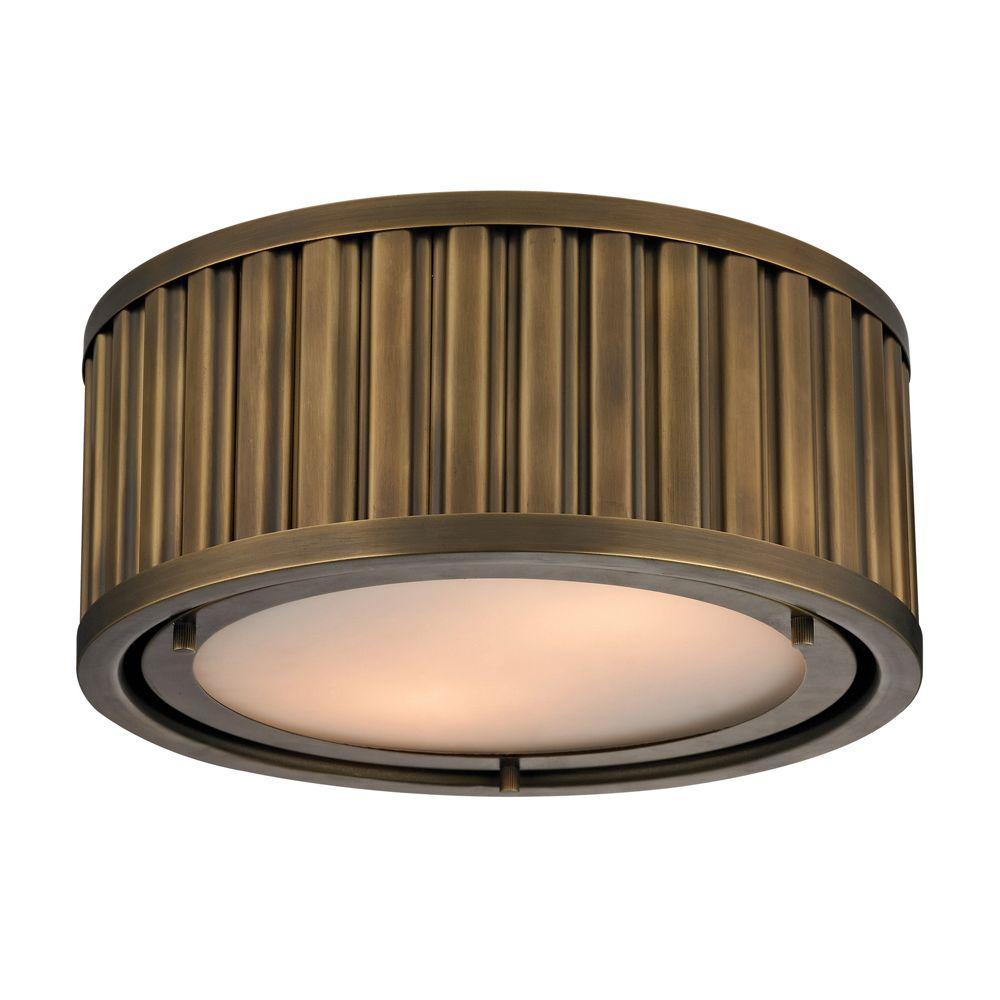 Titan Lighting Munsey Park Collection 2-Light Aged Brass LED Flushmount