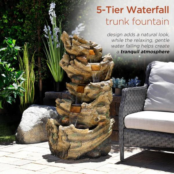53 Inch Tall Brown Alpine Corporation TZL134 5-Tier Water Fall Fountain