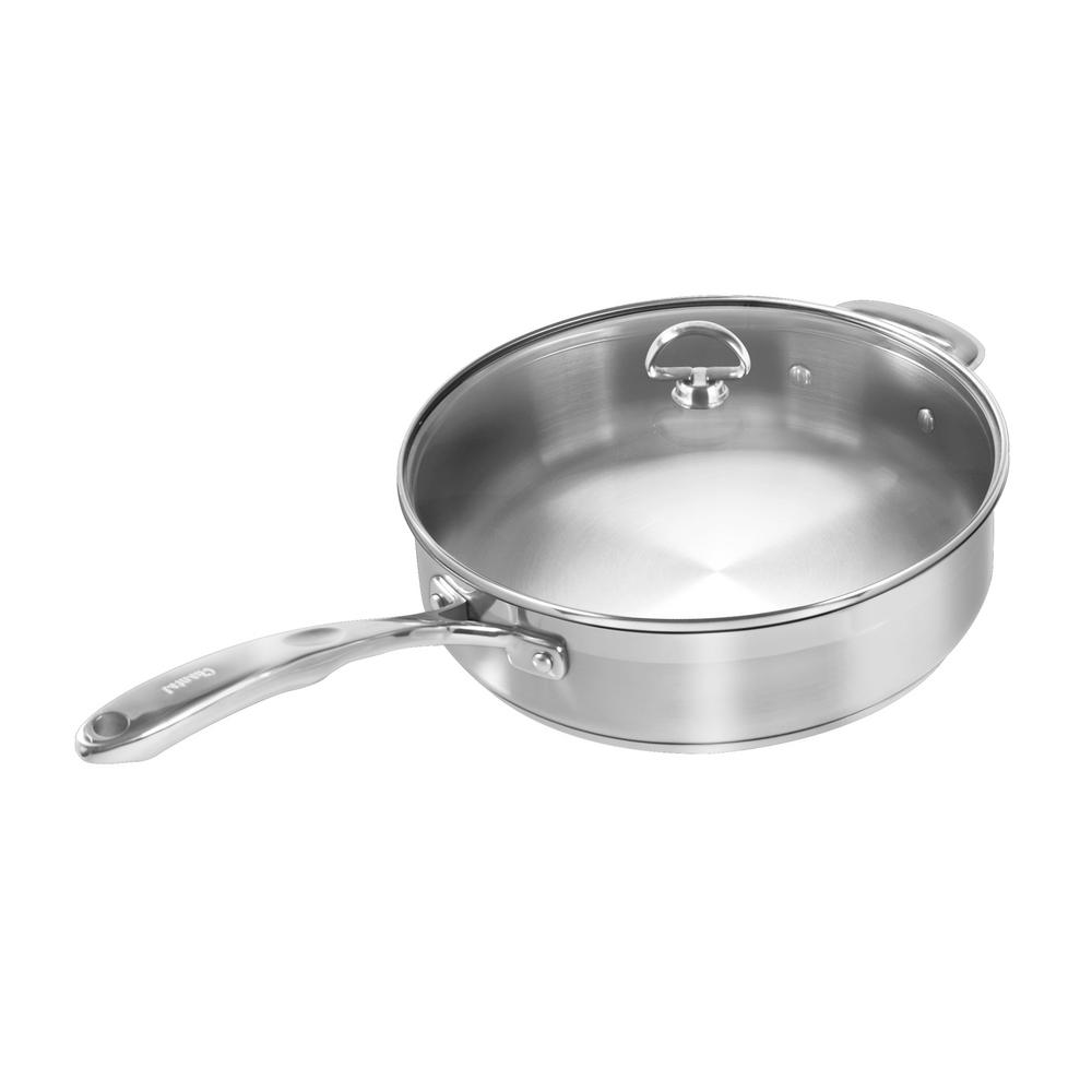 Induction 21 Steel 5 Qt. Skillet With Glass Lid In Stainless Steel, Brushed Stainless Steel Body With Polished Rim