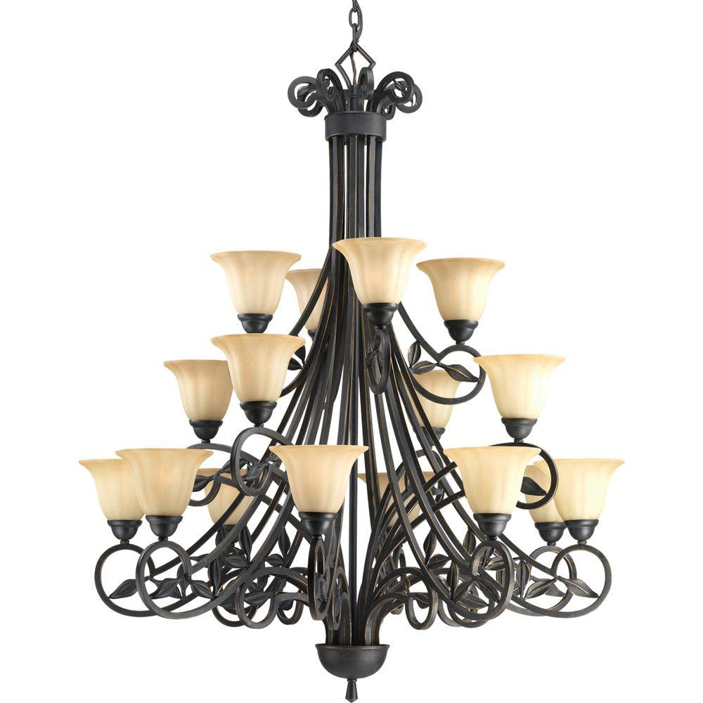 Progress Lighting Le Jardin Collection 16-Light Espresso Chandelier with Shade with Weathered Sandstone Glass Shade