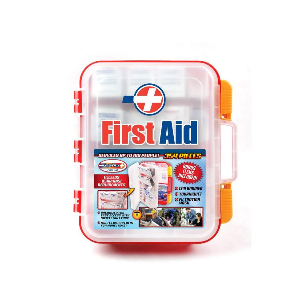 354-Piece OSHA Multi-Compartment Wall Mountable First Aid Kit with Easy  Access Tilt Trays