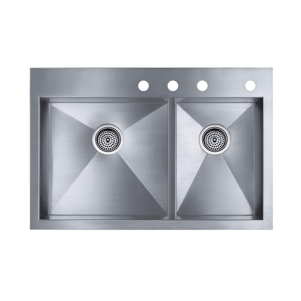 KOHLER Vault Drop-In/Undermount Stainless Steel 33 in. 4-Hole Double Bowl Kitchen Sink