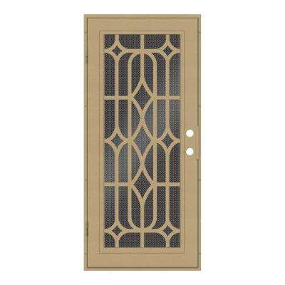 32 in. x 80 in. Essex Desert Sand Left-Hand Surface Mount Security Door with Black Perforated Metal Screen