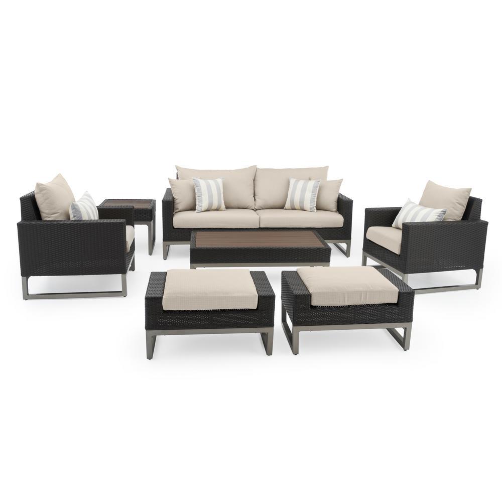 Milo Espresso 7-Piece Wicker Patio Deep Seating Conversation Set with Slate Grey Cushions