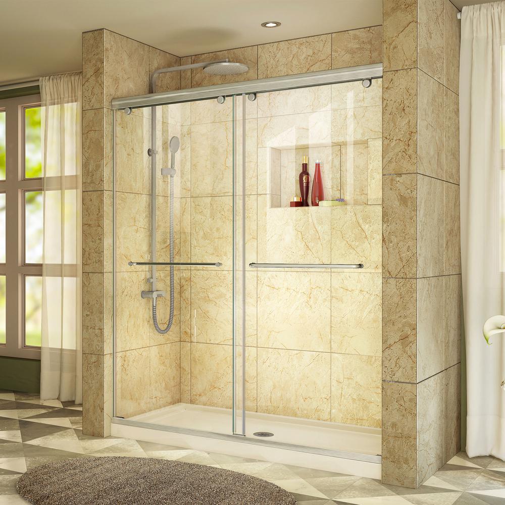 DreamLine Charisma 32 in. x 60 in. x 78.75 in. Semi-Frameless Sliding Shower Door in Brushed Nickel with Center Drain Shower Base