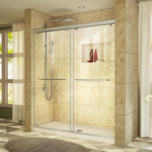 Charisma 34 in. x 60 in. x 78.75 in. Semi-Frameless Sliding Shower Door in Brushed Nickel with Center Drain Shower Base