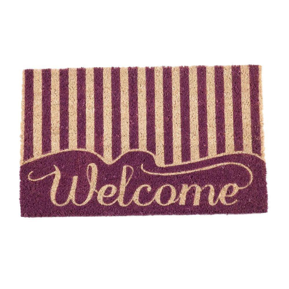 Striped Welcome 17 in. x 28 in. Non-Slip Coir Door Mat
