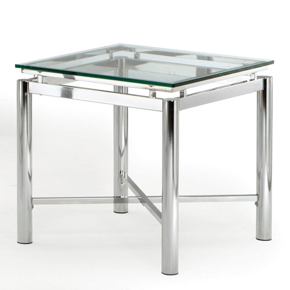 Nova Glass and Chrome End Table