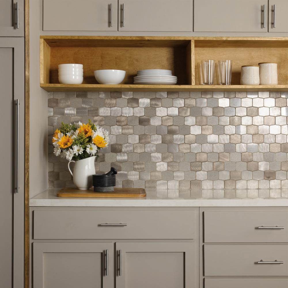 Backsplash Metal Tile Tile The Home Depot