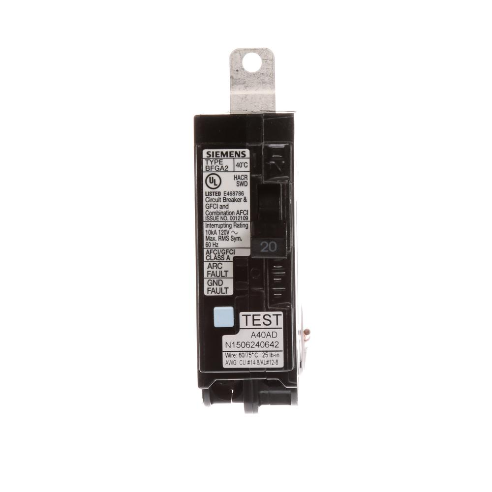 siemens 20 amp single pole circuit breaker afci gfci b120df the home depot. Black Bedroom Furniture Sets. Home Design Ideas