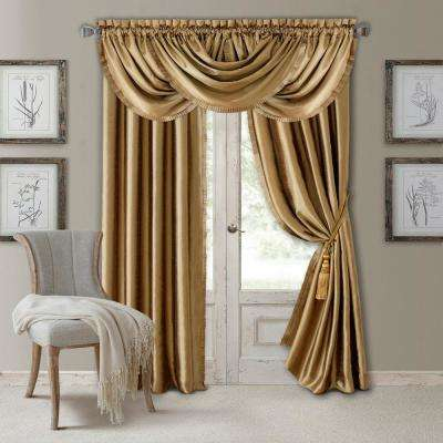 Elrene Versailles 52 in. W x 95 in. L Polyester Single Blackout Window Curtain Panel in Gold