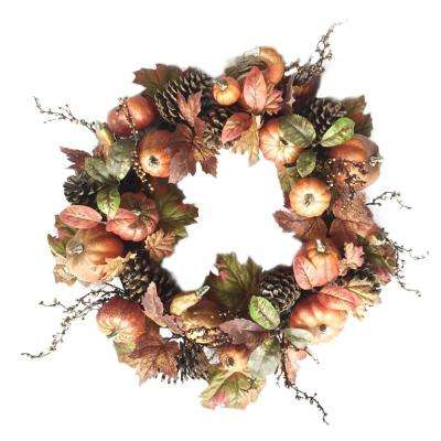 24 in. Unlit Artificial Harvest Pumpkin Wreath