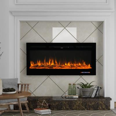 Amarah 50 in. LED Recessed Wall-Mount Electric Fireplace with 9 Color Flame in Black