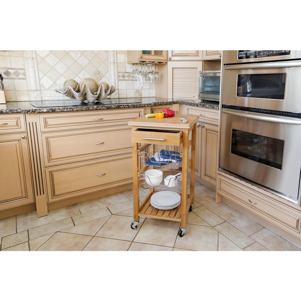 Corner Housewares Bamboo Kitchen Cart With Storage