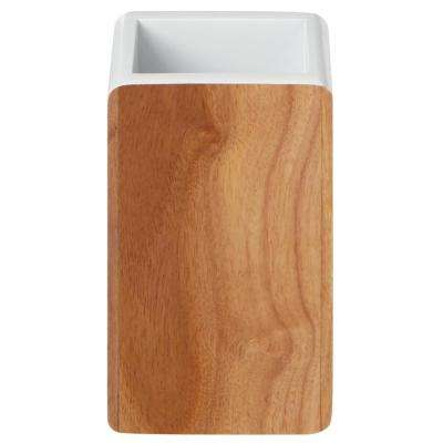 Hedland Toothbrush Holder in Brown and White