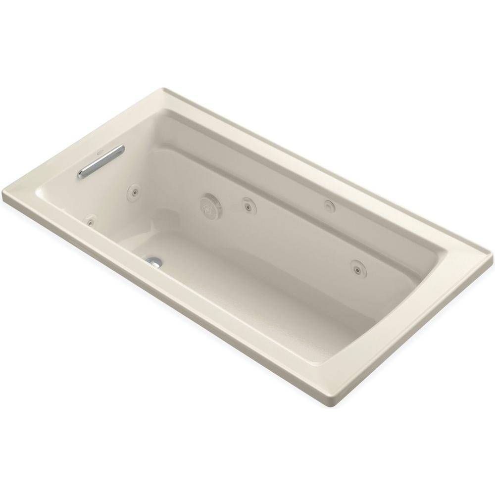Archer 5 ft. Acrylic Rectangular Drop-in Whirlpool Bathtub in Almond