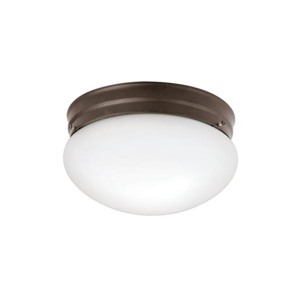 Ceiling Space 8.75 in. 2-Light Olde Bronze Flush Mount Ceiling Light with White Globe