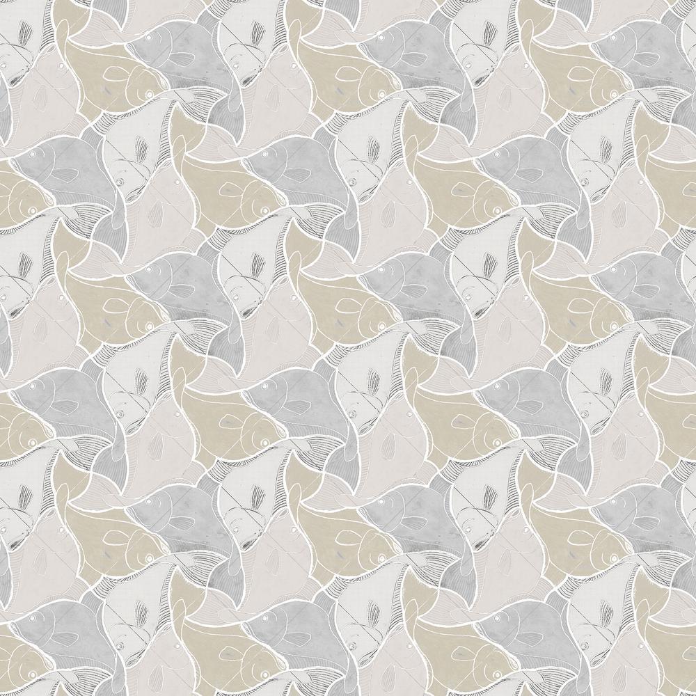 Katya Grey Fish Wallpaper Sample