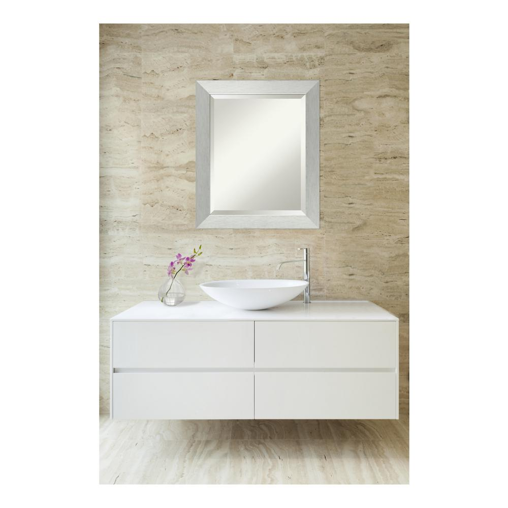 Amanti art brushed sterling silver wood 20 in w x 24 in h contemporary bathroom vanity mirror for Silver framed bathroom mirrors