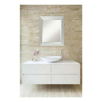 Brushed Sterling Silver Wood 20 in. W x 24 in. H Contemporary Bathroom Vanity Mirror