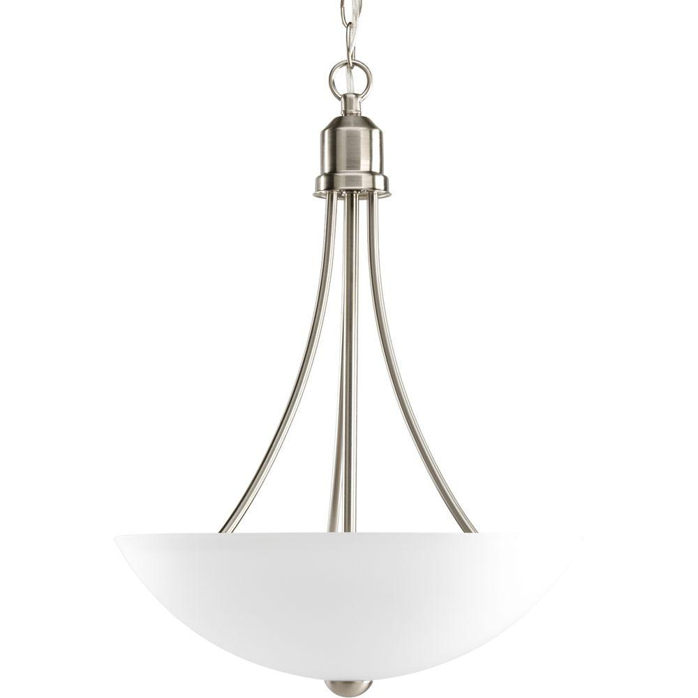 Progress Lighting Gather 15 In 2 Light Brushed Nickel Foyer Pendant With Etched Gl