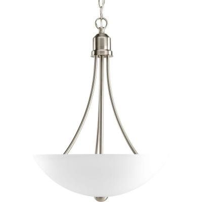 Gather 15 in. 2-Light Brushed Nickel Foyer Pendant with Etched Glass