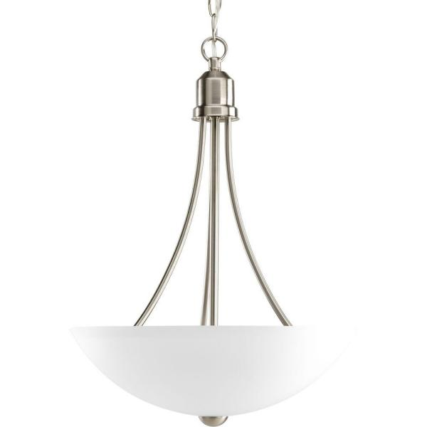 GatherCollection15 in. 2-Light Brushed Nickel Foyer Pendant with Etched Glass
