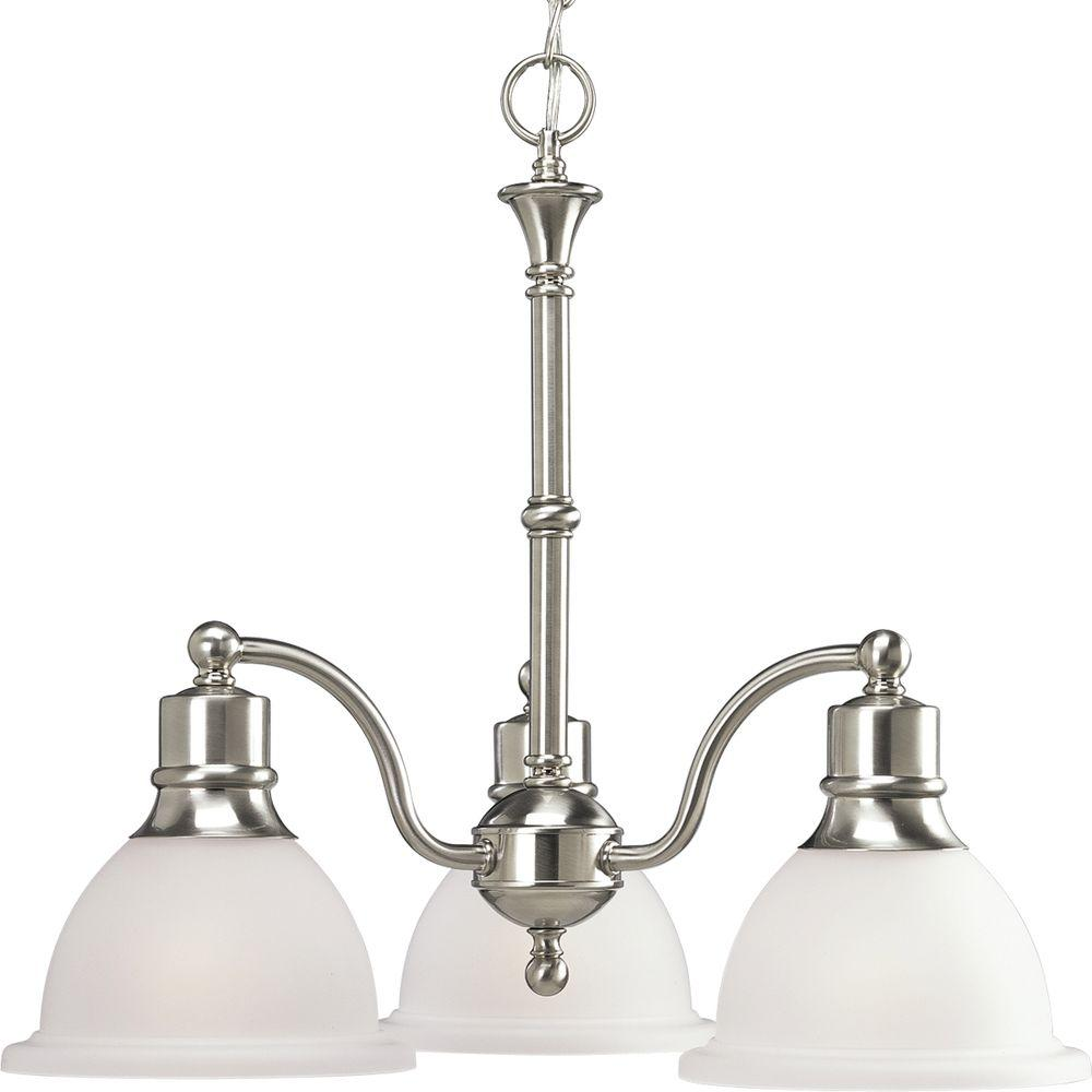 Progress Lighting Madison Collection 3 Light Brushed Nickel Chandelier With Etched Gl