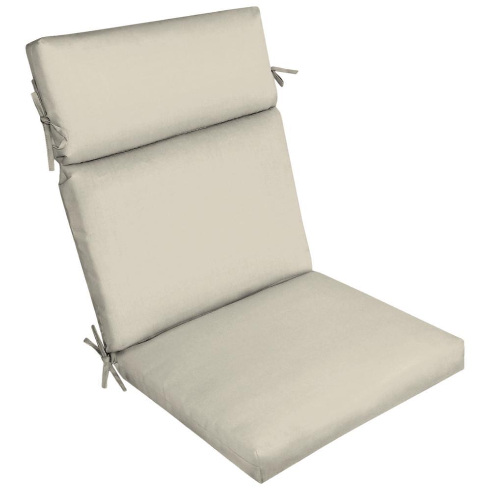 Sand Canvas Texture Outdoor High Back Dining Chair Cushion