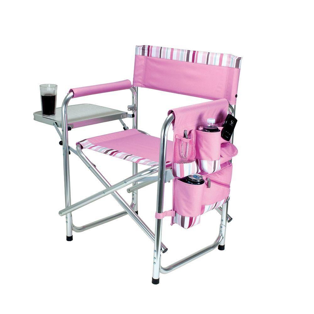 Nice Picnic Time Pink Sports Portable Folding Patio Chair With Stripes