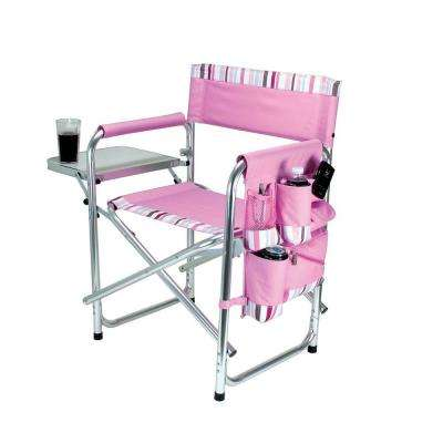 Pink Sports Portable Folding Patio Chair with Stripes